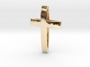 CrossOvalBand35-25-5-1 in 14k Gold Plated Brass