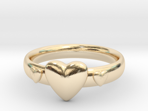 Ring with hearts in 14K Yellow Gold