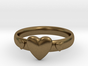Ring with hearts in Natural Bronze