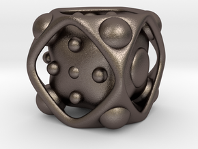 Dice No.2 L (balanced) (3.6cm/1.42in) in Polished Bronzed Silver Steel
