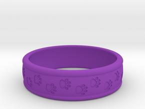 Size 11 Pet Paw Ring Engraved B in Purple Processed Versatile Plastic
