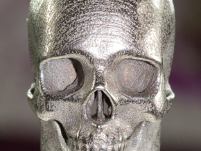 Human Skull with Ring 3.9 cm in White Natural Versatile Plastic