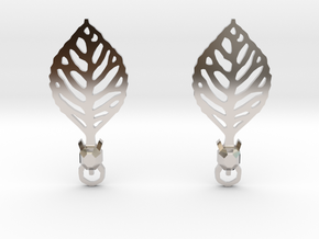 Turtle Leaf Earrings in Rhodium Plated Brass