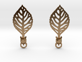Turtle Leaf Earrings in Natural Brass