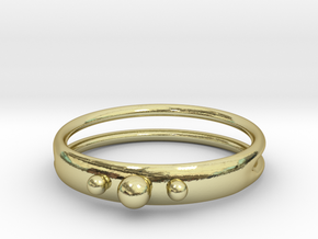 Ring with beads, open back in 18k Gold Plated Brass