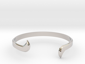 Thin Winged Cuff in Rhodium Plated Brass
