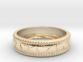 Size 9 Hearts Ring  in 14K Yellow Gold