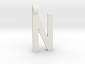Letter N Necklace in White Natural Versatile Plastic