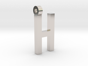 Letter H Necklace in Rhodium Plated Brass