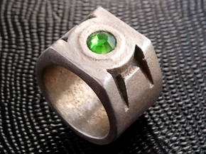Green Lantern Ring - Size US10.5 in Polished Bronzed Silver Steel