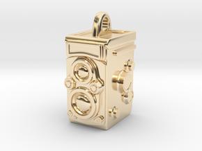 Rolleiflex Camera Pendant in 14k Gold Plated Brass
