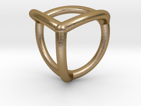 0070 Stereographic Polyhedra - Tetrahedron in Polished Gold Steel