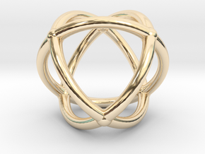 0072 Stereographic Polyhedra - Octahedron in 14k Gold Plated Brass