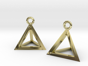 Tetrahedron earrings #Gold in 18k Gold Plated Brass