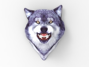Courage Wolf Head  in Full Color Sandstone