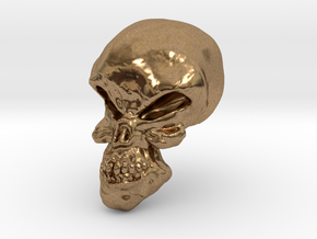 Little Scary Skull in Natural Brass