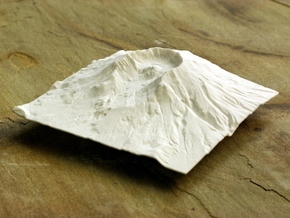 6'' Mt. St. Helens Terrain Model, Washington, USA in White Strong & Flexible