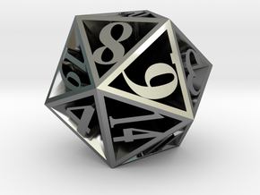 20 Sided Die in Premium Silver