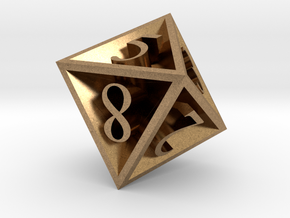 8 Sided Die in Natural Brass