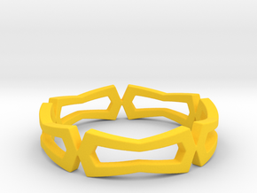 Distorted rectangle pattern Ring Size 10 in Yellow Processed Versatile Plastic