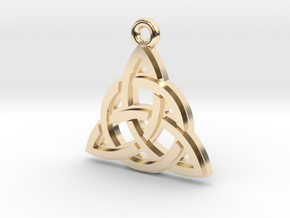 """Trinity Knot"" Pendant, Cast Metal in 14k Gold Plated Brass"