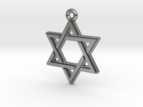 """Hexagram 2.0"" Pendant, Cast Metal in Natural Silver"