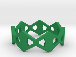Rhombus Ring Size 8 in Green Processed Versatile Plastic