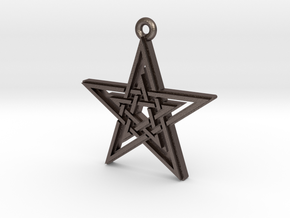 """Double Pentagram"" Pendant, Printed Metal in Polished Bronzed Silver Steel"