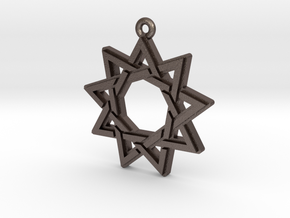 """Nonagram 3.0"" Pendant, Printed Metal in Polished Bronzed Silver Steel"
