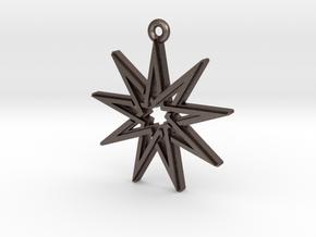"""Nonagram 4.1"" Pendant, Printed Metal in Polished Bronzed Silver Steel"