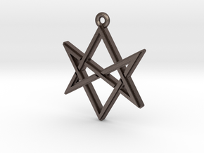 """Unicursal Hexagram"" Pendant, Printed Metal in Polished Bronzed Silver Steel"