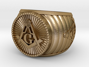 Freemason Ring in Polished Gold Steel