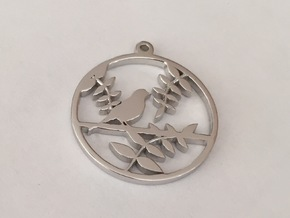 Bird Pendant in Rhodium Plated Brass