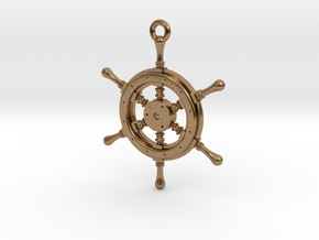 Ship Wheel Pendant in Natural Brass