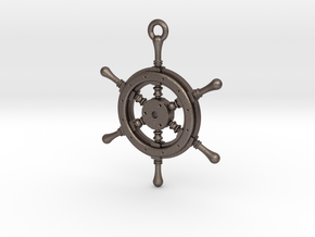 Ship Wheel Pendant in Polished Bronzed Silver Steel