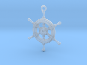 Ship Wheel Pendant in Smooth Fine Detail Plastic