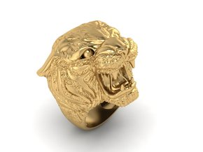 Tiger ring in Polished Gold Steel