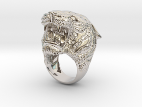 Tiger ring in Rhodium Plated Brass