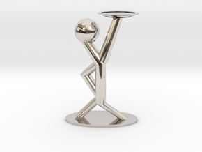 Holding Statue in Rhodium Plated Brass