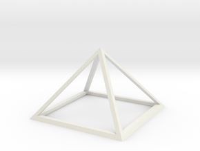 3D Wireframe Pyramid in White Natural Versatile Plastic