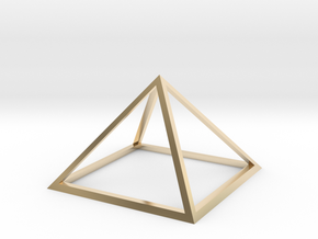3D Wireframe Pyramid in 14k Gold Plated Brass