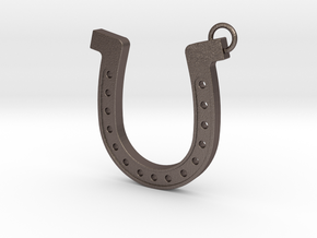 Horseshoe pendant in Polished Bronzed Silver Steel