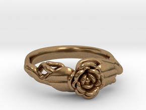Ring with a rose on a branch in Natural Brass