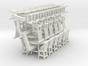 Rustic Chairs, Tables and Bar Stools HO Scale in White Natural Versatile Plastic