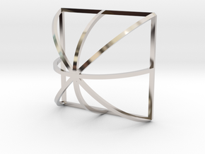 Arch Plus Square in Rhodium Plated Brass