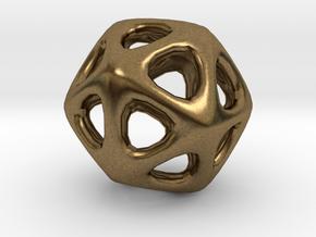 Icosahedron - 2.3cm in Natural Bronze