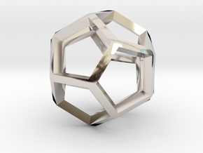 3D Honeycomb  in Rhodium Plated Brass