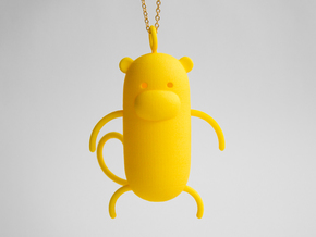 Monkey Pendant in Yellow Processed Versatile Plastic