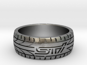 Subaru STI ring - 20 mm (US size 10) in Raw Silver