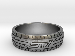 Subaru STI ring - 24 mm (US size 15) in Natural Silver
